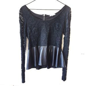 Charlotte Russe black lace faux leather peplum top